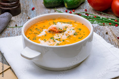 Fotografie, Obraz Crab cream soup