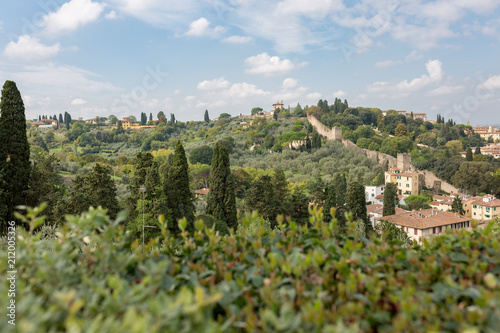 Deurstickers Toscane Tuscany landscape with city wall and greenery