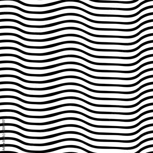 Fotografia, Obraz  Irregular wavy lines black and white