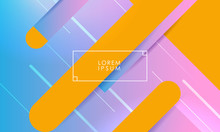 Light Pink And Blue Background With Big Orange Lines And Frame