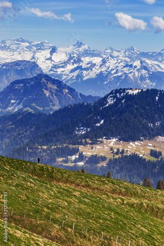 Poster de jardin Parc Naturel Traveler trekking on Rigi kulm with landscape view of Alps snow mountain and pine tree , Luzern Switzerland
