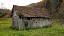 Partially Broken Old Country Barn With Missing Boards And Small Roof Tiles Surrounded With High Uncut Grass, Plants And Large Trees