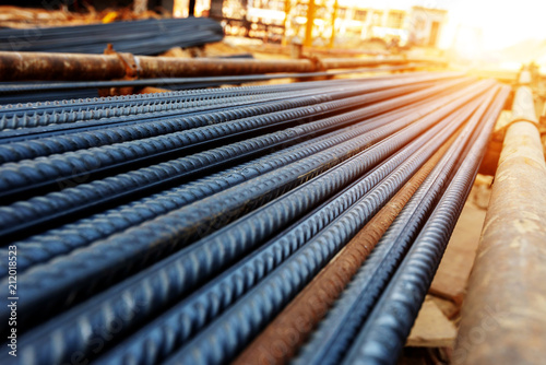 Foto Rebar on construction site