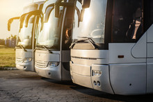 Three Metallic Buses In The Parking