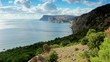 Cloudy sky over the mountains and the sea. Balaklava, Crimea, Russia. FULL HD