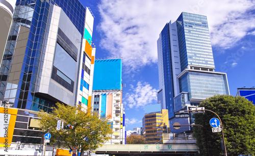 渋谷駅西口のスクランブル交差点から見た風景
