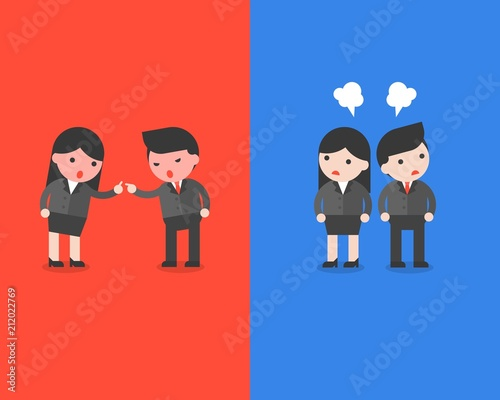 Angry Businesswoman quarrel with angry businessman, business situation of confli Canvas Print
