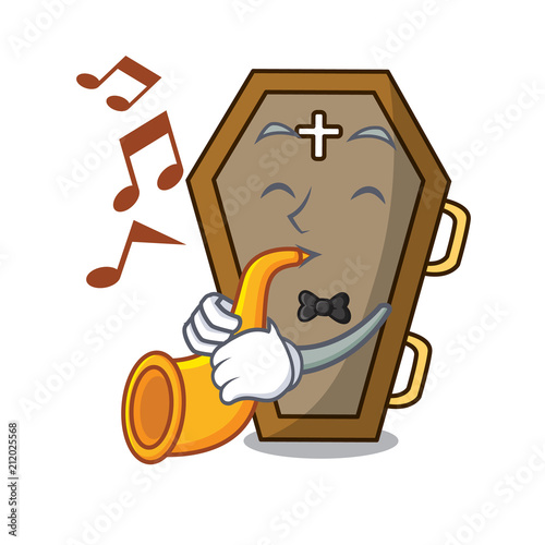 Fényképezés  With trumpet coffin mascot cartoon style