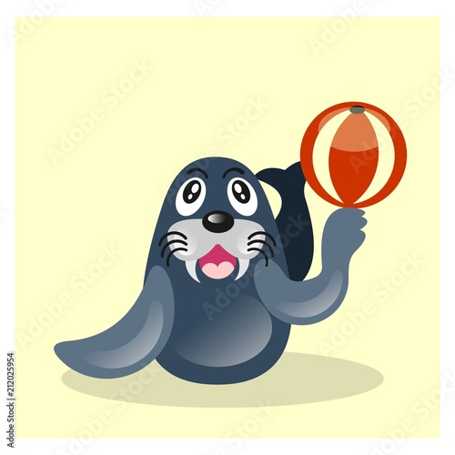 cute funny sea lion seal playing ball mascot cartoon character Poster