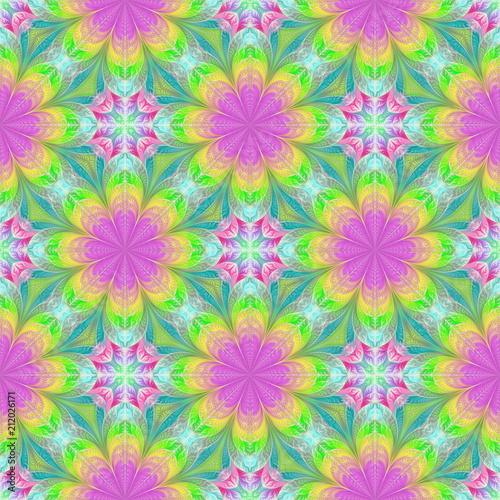 Beautiful Seamless Flower Pattern In Fractal Design Artwork