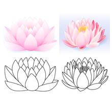 Pink Lotus Pattern Flower Set