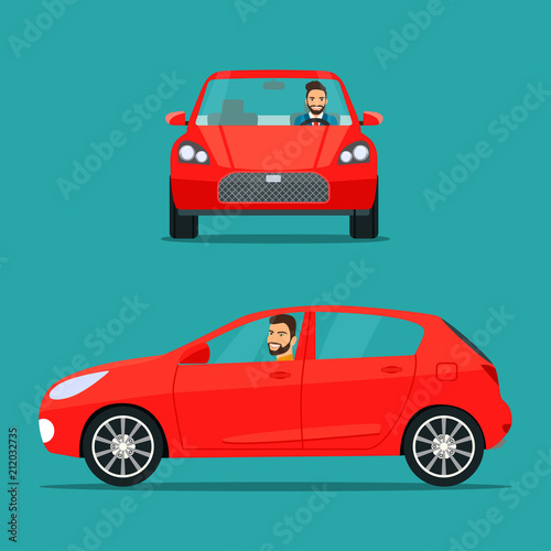 Fototapeta Red hatchback car two angle set. Car with driver man side view obraz