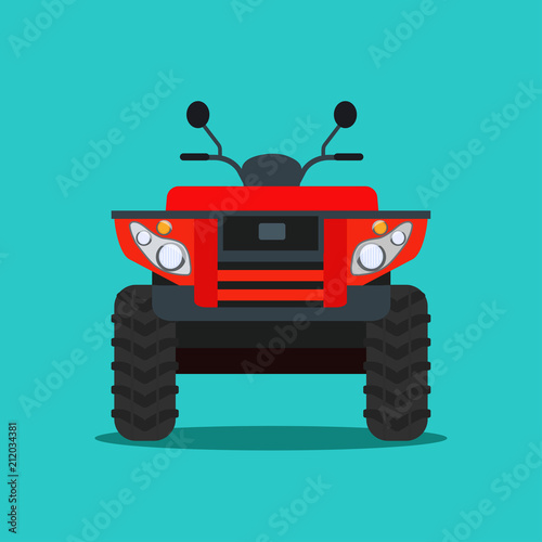 ATV motorcycle isolated. Front view. Vector flat style illustration