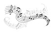 Musical note and treble clef icon for music design