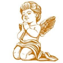 Angel Prays On His Knees Hand ...