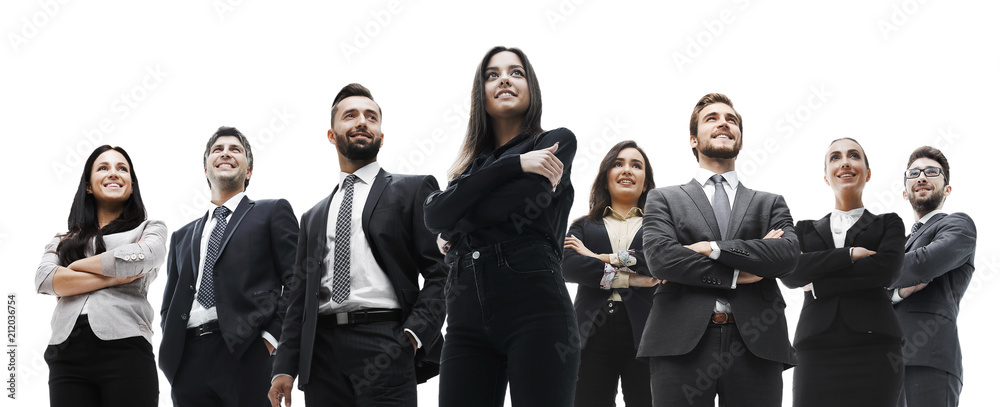 Fototapeta happy successful business team isolated on white background