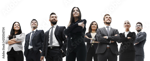 Fotografiet  happy successful business team isolated on white background