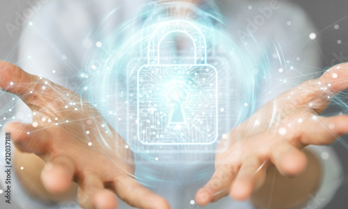 Businesswoman using digital padlock with data protection 3D rendering