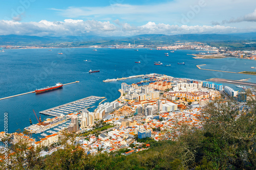 Fotografie, Obraz  View over Gibraltar city and sea port from the top of the rock