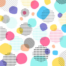 Abstract Modern Pastels Color, Black Dots Pattern With Lines Diagonally On White Background.