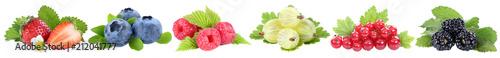 Poster Vruchten Sammlung Beeren Erdbeeren Blaubeeren Himbeeren rote Johannisbeeren Früchte in einer Reihe isoliert Freisteller freigestellt
