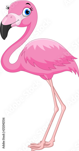 Vászonkép Cartoon pink flamingo bird