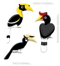 Bird Hornbill Set Cartoon Vector Illustration