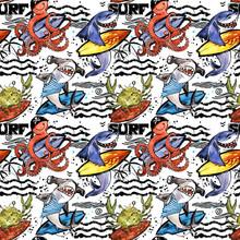 Cute Cartoon Sea Fish Seamless Pattern. Vintage Surf Background. Shark. Octopus. Crab. Surfing.
