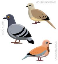Bird Dove Pigeon Set Cartoon V...