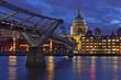 Millennium Bridge and St Paul's Cathedral at dusk, London, England, United Kingdom, Europe