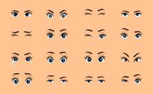 Cartoon Female Eyes. Colored V...