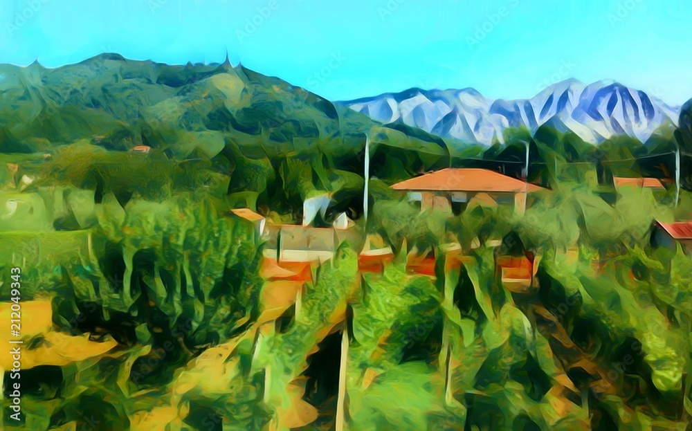 Fototapeta Beauty Italian landscape, small village near mountains, blue sky. Valley view in Italy. Big size oil painting fine art. Modern impressionism drawn artwork. Creative artistic print for canvas or poster