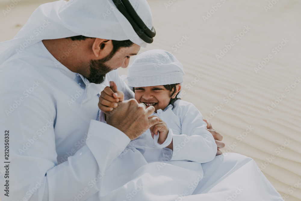 Fototapety, obrazy: father and son spending time in the desert