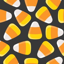 Candy Corn Seamless Pattern For Halloween Background Or Wallpaper