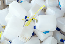 Many Plastic Milk Bottle Prepare To Cleaning And Go To The Recycle Factory.