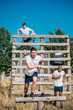 young interracial soldiers practicing in obstacle run on range
