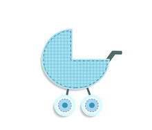 Checkered Blue Baby Boy Stroller Sticker Or Icon Isolated