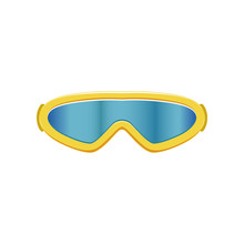 Cartoon Icon Of Ski Goggles. Winter Sport Glasses With Blue Lenses And Yellow Frame. Protective Eyewear. Flat Vector Design For Mobile App