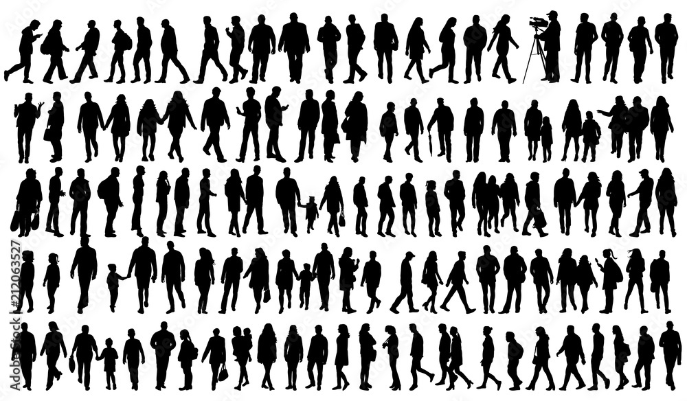 Fototapety, obrazy: silhouette people go set
