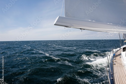 Spoed Foto op Canvas Zeilen Sailing at sea on a luxury sailing yacht. Mediteranian