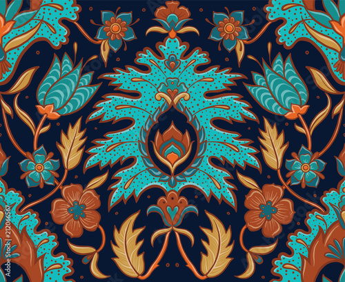 Bohemian Seamless Floral Tile - Turquoise and Ochre Fototapet