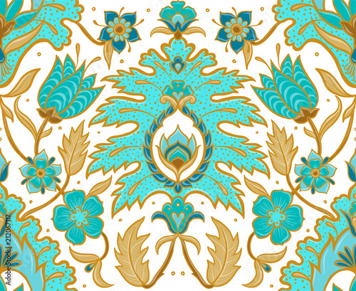 boho-floral-tile-turquoise-and-ochre