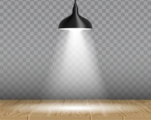 Lamp Over Table Vector Realistic Illustration