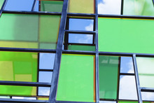 The Walls Are Made Of Multi-colored Panels, Modern Background.