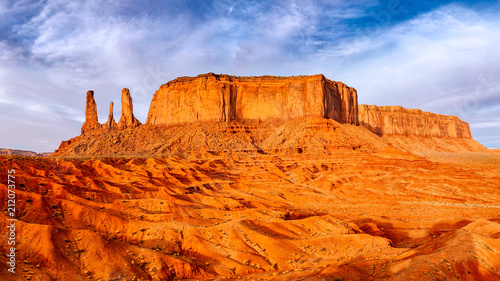 Monument valley landscape view with rock formations and textured foreground