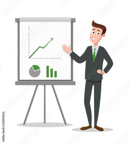 Business man presents diagrams on flip chart. Vector illustration.