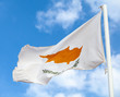 National flag of Cyprus waving on wind