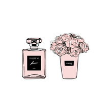 Fashion Girl Set: French Perfume With Coffee Cup Floral With Pink Flowers. Hand Drawn Vector Illustrations Perfect For Invitation, Greeting Card, Poster, Print Etc., Sketch. Cute Stickers For Girls.