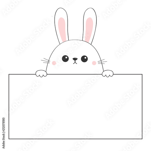 rabbit happy face head icon hanging on paper board template pink