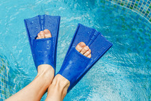 Woman Legs In Flippers In Swim...